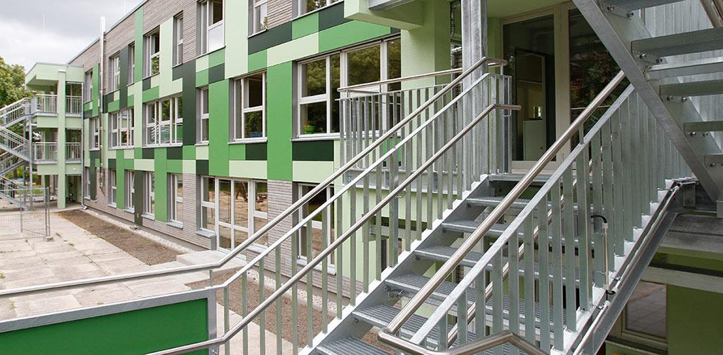 Rückansicht, Energetische Fassadensanierung KiTa Grashüpfer