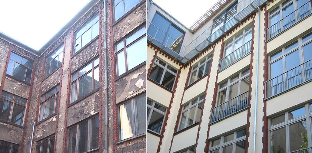 Fassade im Vorher-Nachher-Vergleich