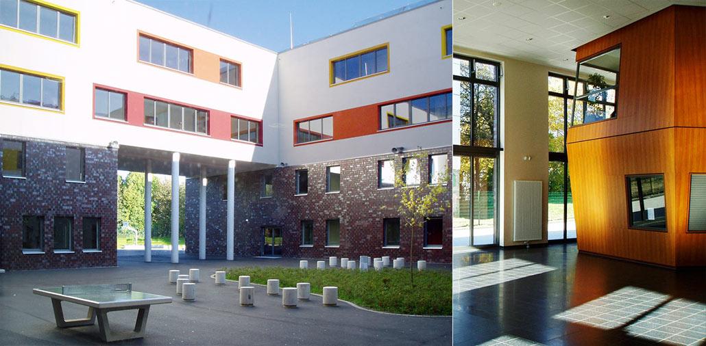 Neubau Hauptschule Velbert, Hofseite und Foyer