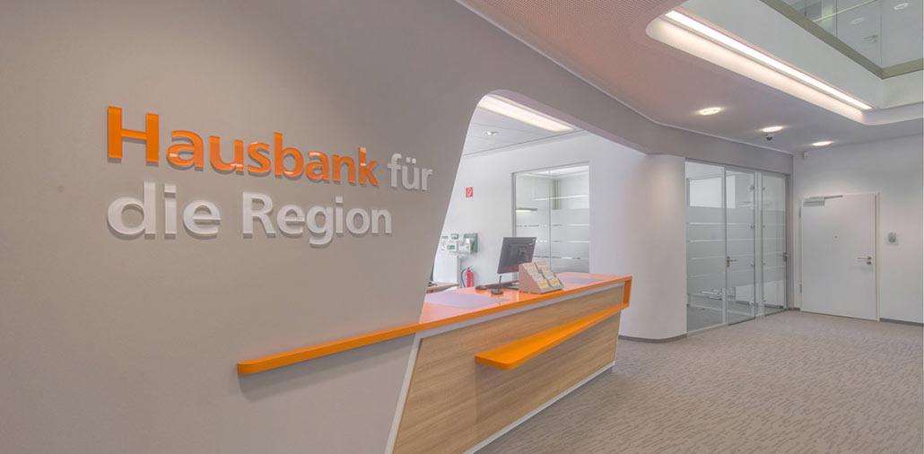 Neubau Volksbank-Filiale Wilster, Ansicht Kundenhalle