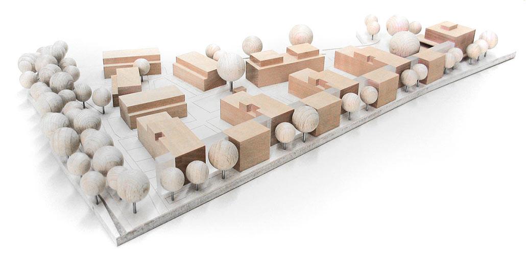 Wohnsiedlung Hamburg-Lokstedt, Modell: Zeilenartige und radial fächerförmige Gebäudeverzahnung sowie Staffelung der Geschossigkeit
