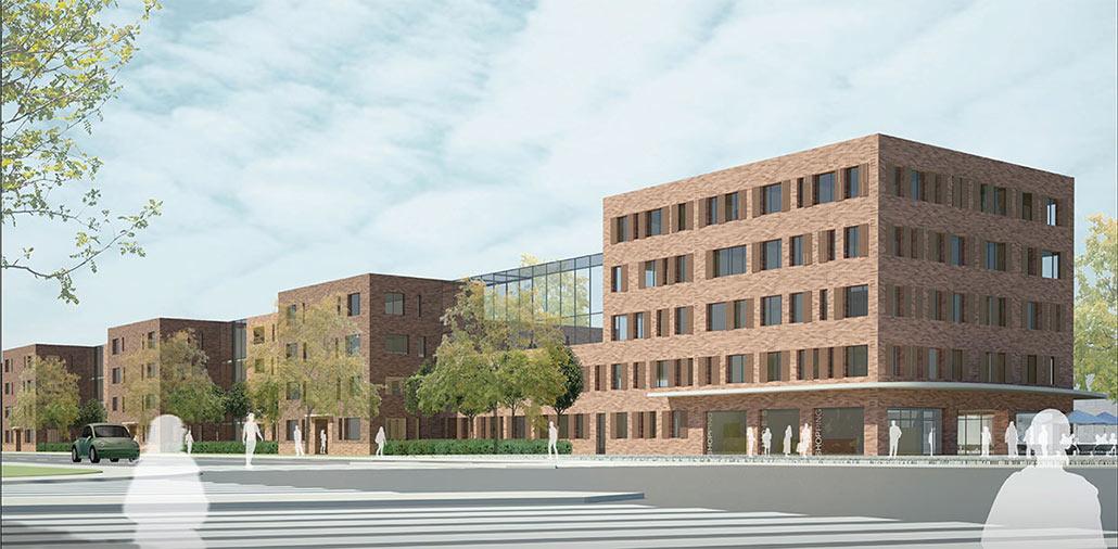Wohnsiedlung Hamburg-Lokstedt, Schallabsorbierende Oberflächen an den Fassaden der Wohngebäude. Gläserne Wintergärten schirmen die im Rücken gelegenen Wohnhöfe ab.