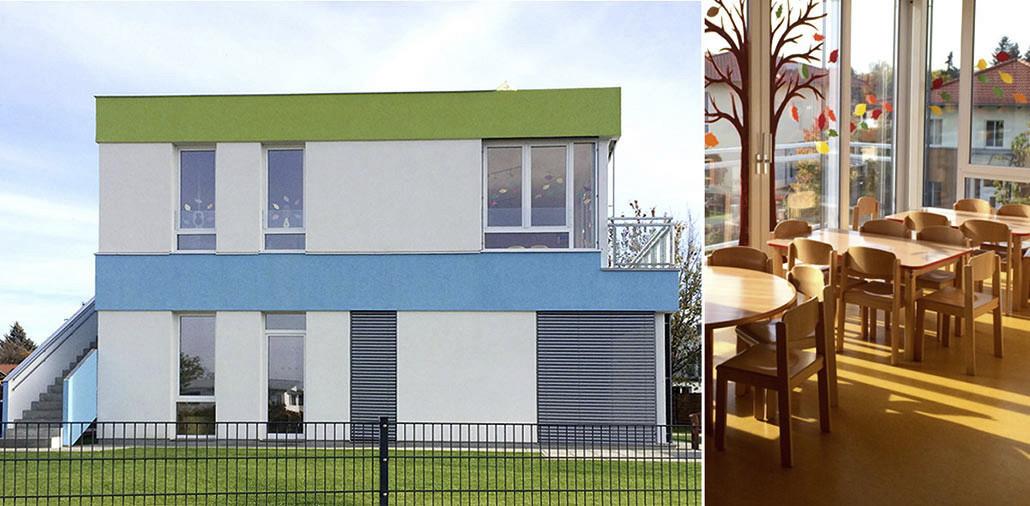 Seitenansicht und Innenraum, Kita-Neubau in Berlin-Bohndorf