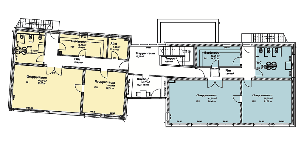 Grundriss, Kita-Neubau in Berlin-Bohndorf