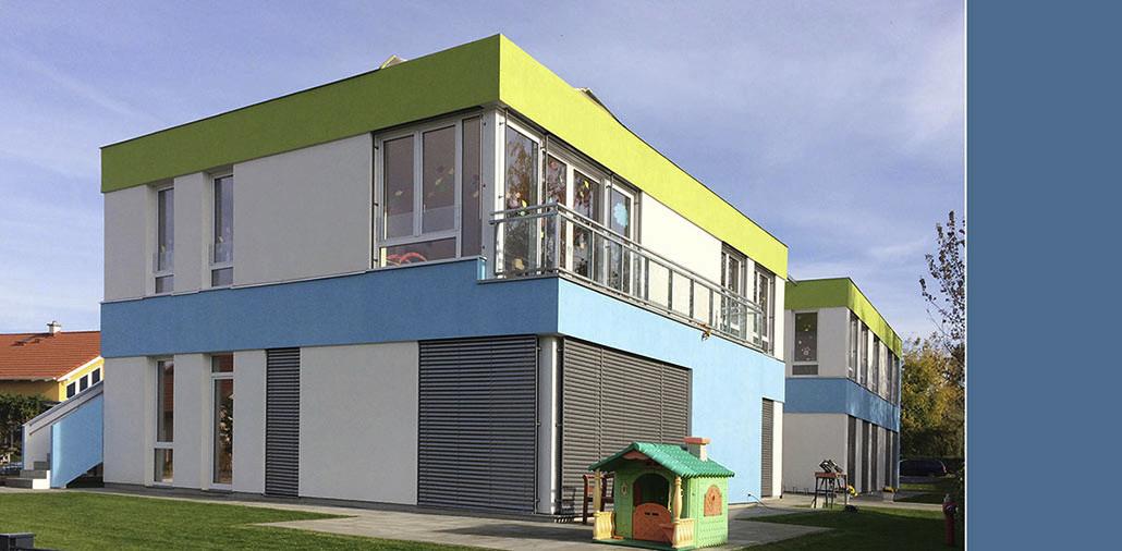 Südwestansicht, Kita-Neubau in Berlin-Bohndorf