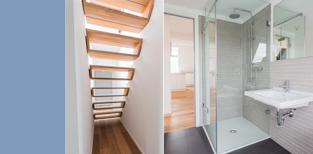 Die offene Treppe und eines der zwei Badezimmer