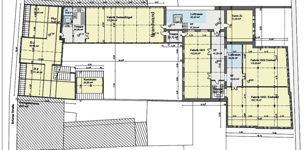 Der Grundriss des Obergeschosses der historischen Fabrik