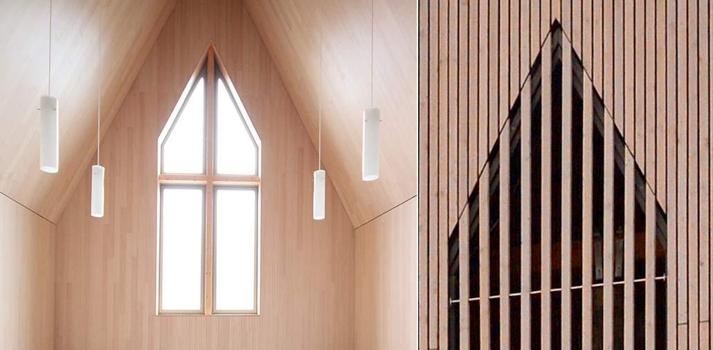 Fenster und Glockenturm der neuen Hasloher Kirche