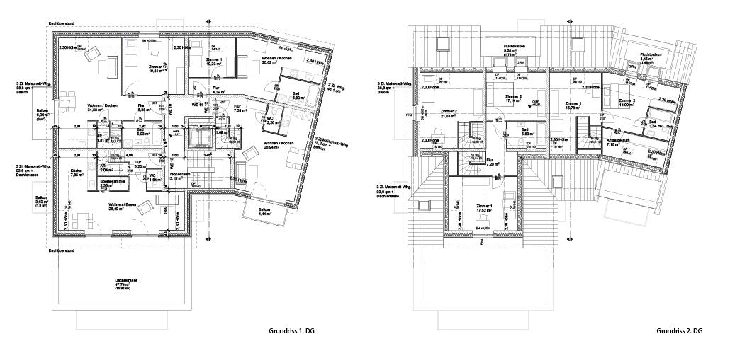 Mehrfamilienhausneubau in Hamburg Sasel: Grundrisse