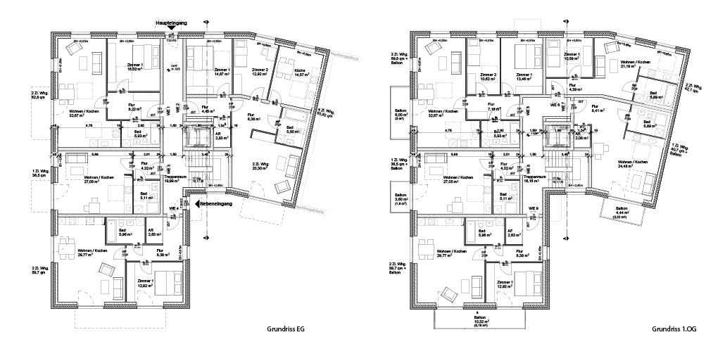 Neubau Mehrfamilienhaus in Hamburg Sasel: Grundriss EG und 1. OG