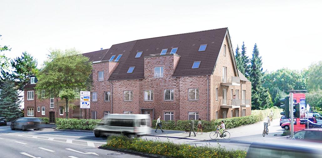 Neubau Mehrfamilienhaus in Hamburg Sasel: Perspektive
