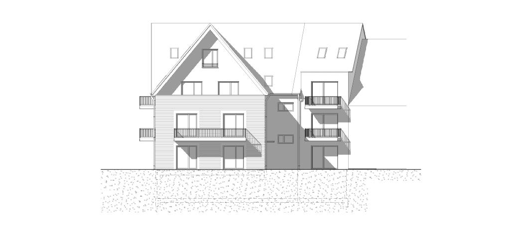 Neubau Mehrfamilienhaus in Hamburg Sasel: Südansicht