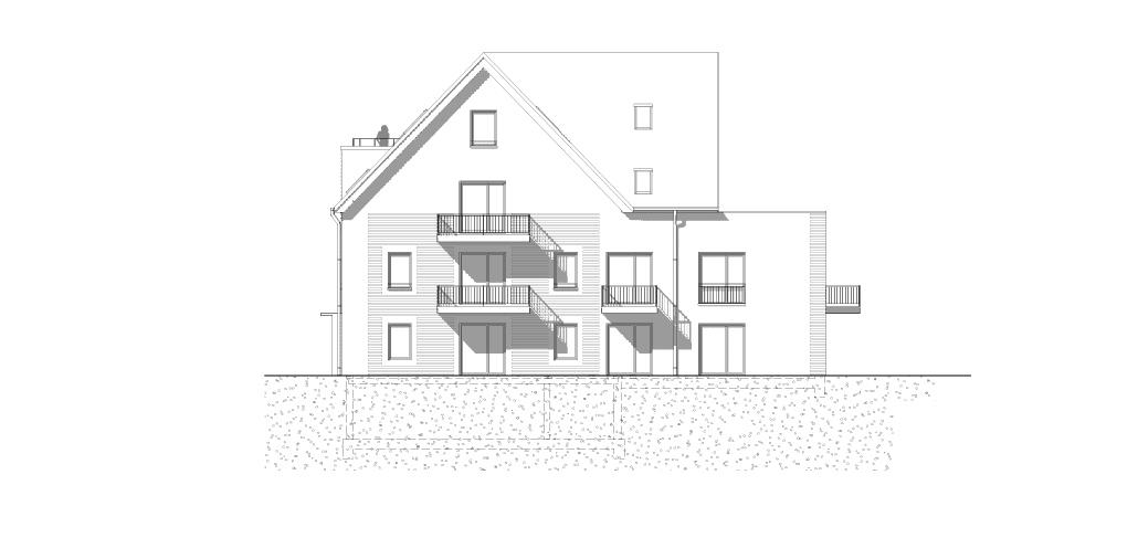 Neubau Mehrfamilienhaus in Hamburg Sasel: Westansicht