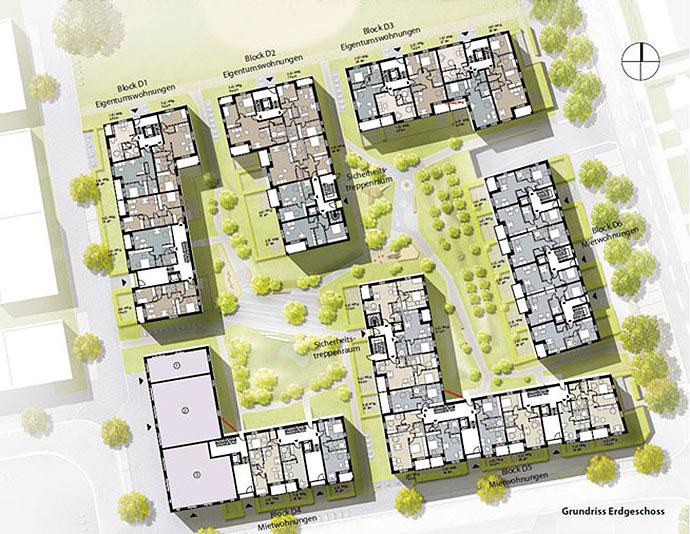 Mietwohnungsbau Mix: Erdgeschossgrundriss