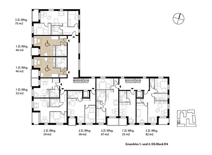 Wohnungsmix mit barrierefreien Wohnungen im 1. und 2. OG