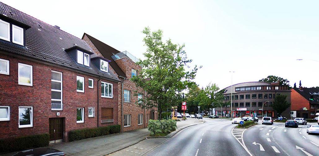 Das von MMST Architekten geplante Mehrfamilienhaus In Hamburg Sasel wird direkt an das genachbarte Gebäude angebaut.