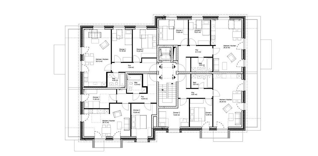 Staffelgeschoss-Grundriss des Mehrfamilienhauses am Horner Moor