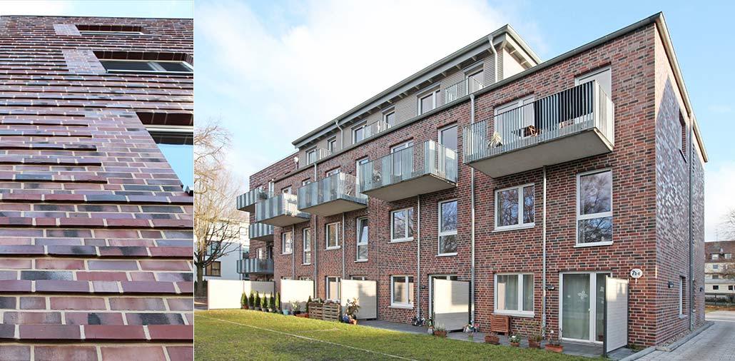 Mehrfamilienhaus in Hamburg Stellingen, Fassadendetail und Gartenansicht