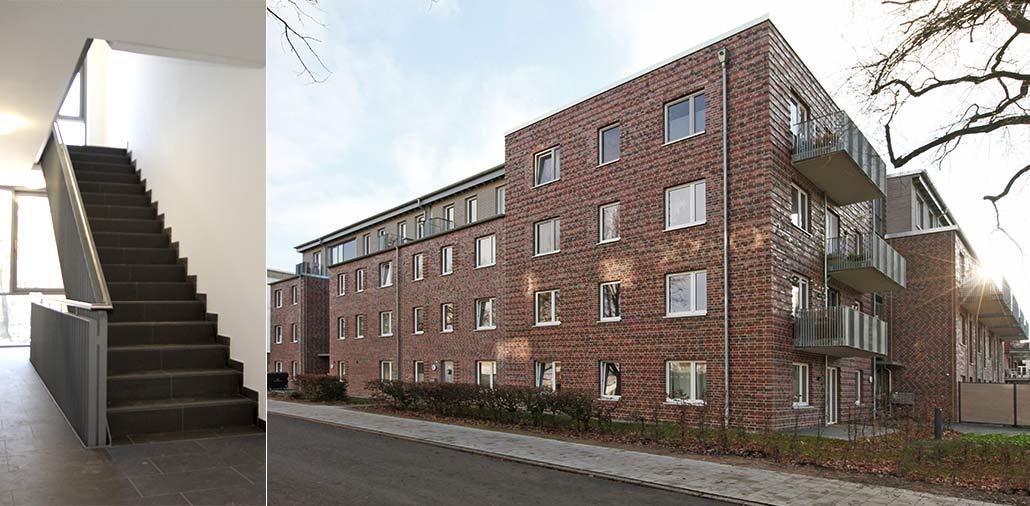 Mehrfamilienhaus in Hamburg Stellingen, Straßenansicht und Treppenhaus
