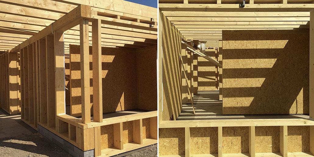 Die Kirche wurde aus in der Zimmerei vorgefertigten Holzmodulen errichtet