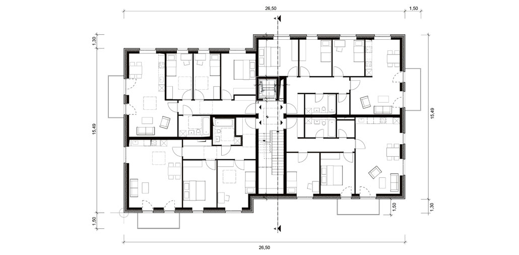 Der Grundriss des Obergeschosses des Mehrfamilienhauses am Horner Moor