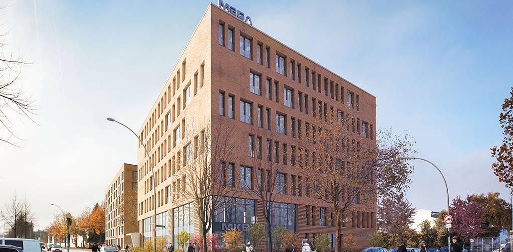 Für die MEGA eG geplanter Neubau mit Büro- und Banknutzung, Außenansicht
