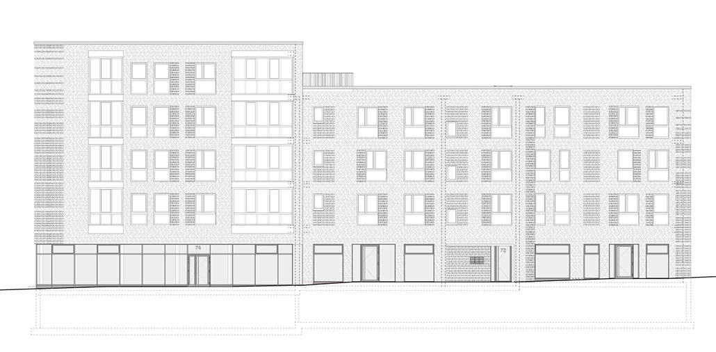 Südostansicht des zweiten Bauabschnitts für Wohnen und Gewerbe in Hamburg Bergedorf