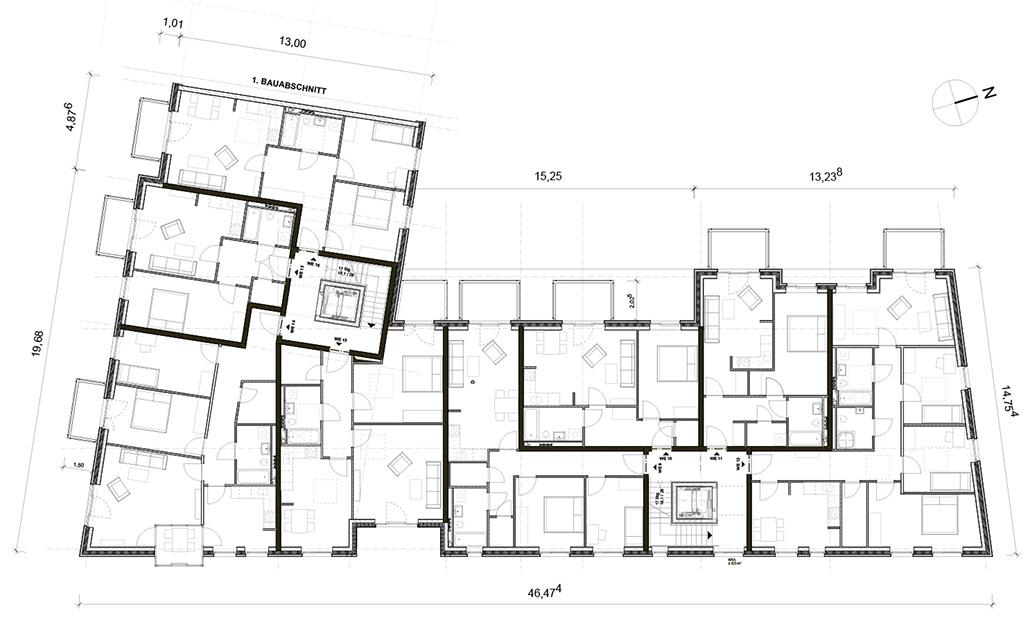 2. OG-Grundriss des zweiten Bauabschnittes in Hamburg Bergedorf: Wohnen und Gewerbe