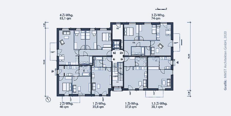 Mehrfamilienhaus Grundriss – Mustergrundriss für 10 Wohnungen