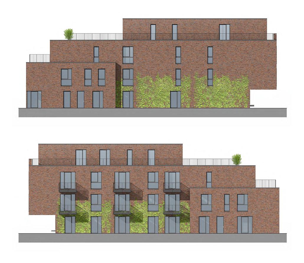 Ansichten des Mehrfamilienhauses mit 10 Wohnung in Norderstedt von West und Ost