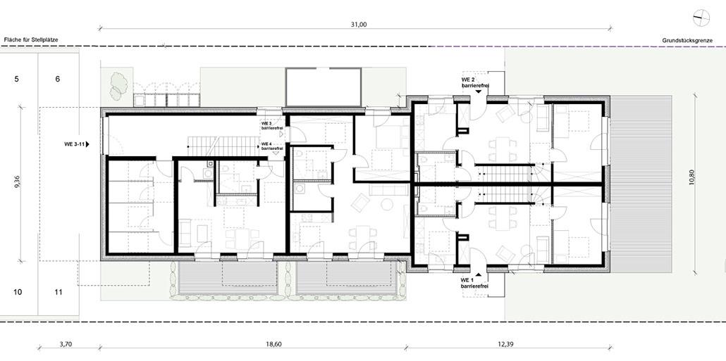 Erdgeschoss Grundriss Mehrfamilienhaus mit 10 Wohneinheiten