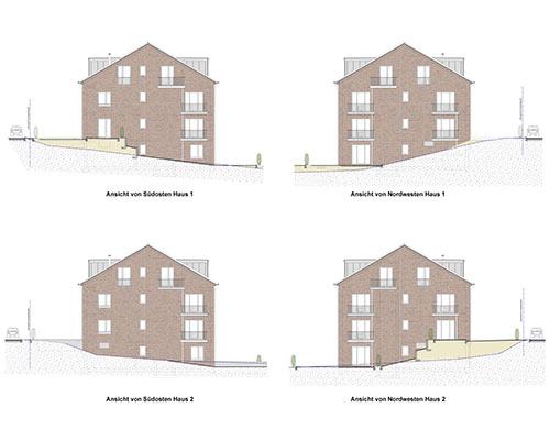 Seitenansichten Mehrfamilienhaus mit 20 Wohneinheiten