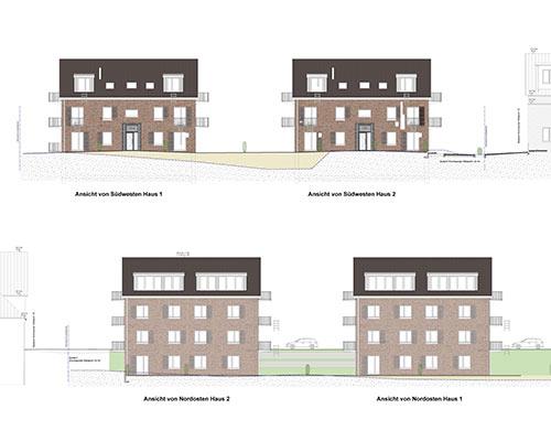 Ansichten Mehrfamilienhäuser mit 20 Wohnungen