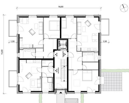 Grundriss EG Mehrfamilienhaus