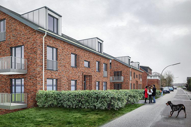 Mehrfamilienhaus 20 Wohnungen, Perspektive von Kirchwerder Elbdeich