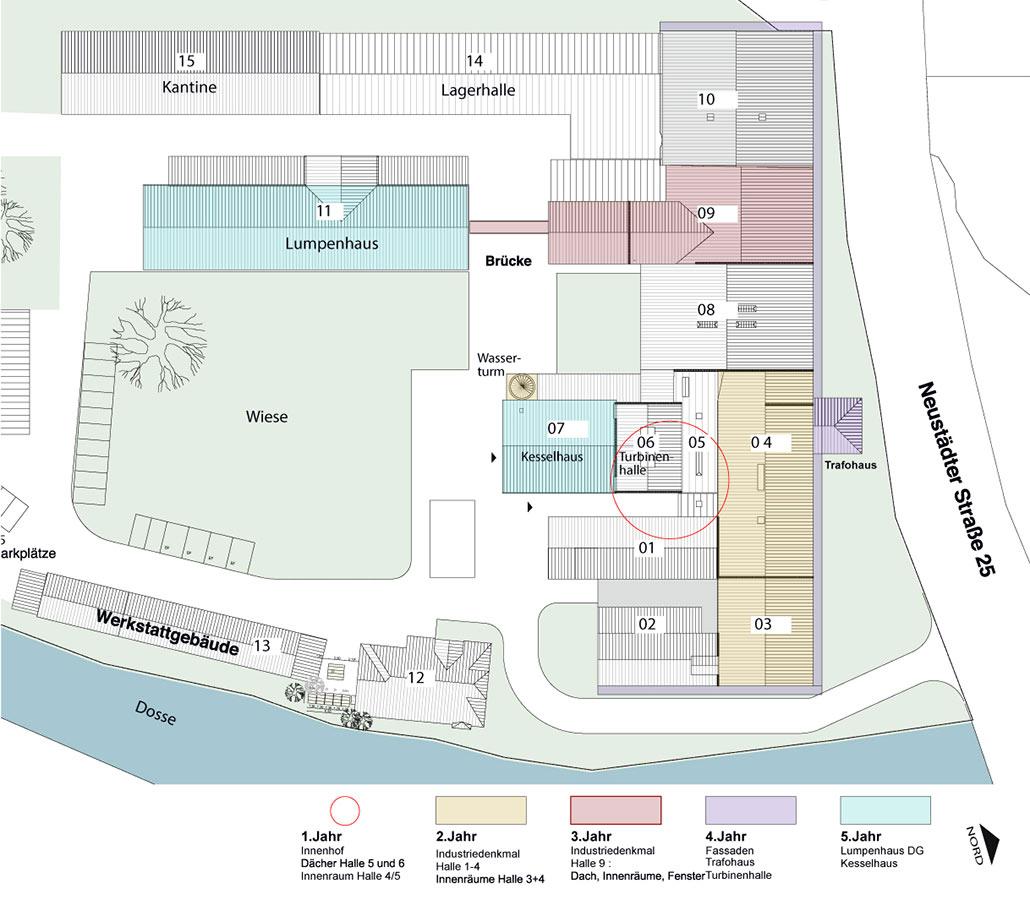 Lageplan und Sanierungsplanung für die denkmalgeschützte Papierfabrik Hohenofen