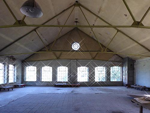 Sanierung der denkmalgeschützten Papierfabrik Hohenofen, Bestandsfoto Packsaal