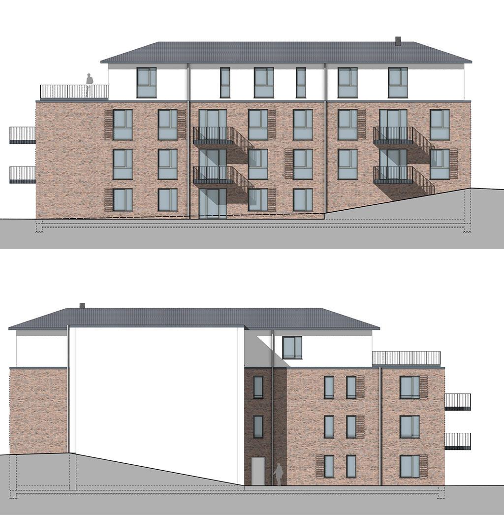 Mehrfamilienhaus mit 8 Wohnungen in Bordesholm - Ansicht Ost und West