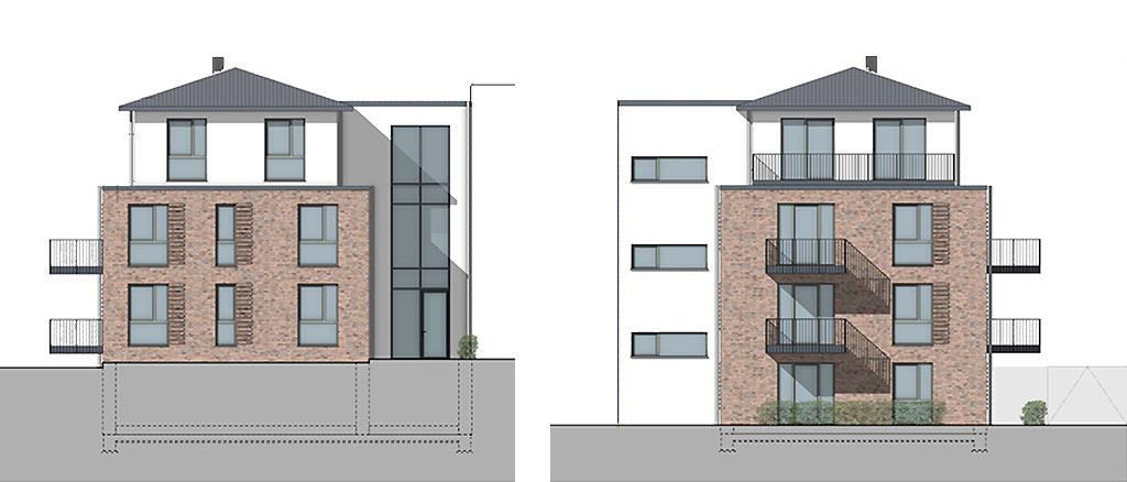 Mehrfamilienhaus mit 10 Wohnungen in Bordesholm - Ansicht Ost und West