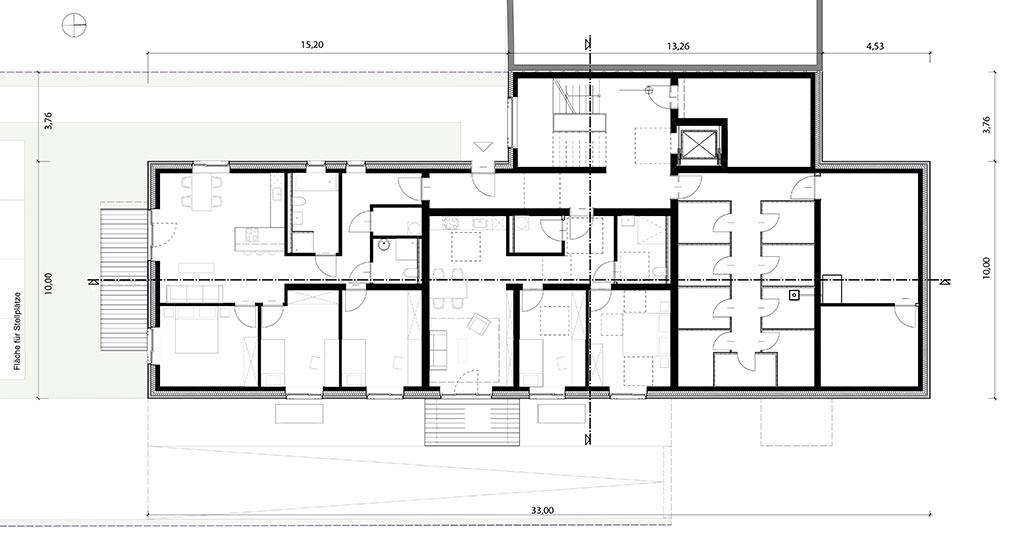 Erdgeschoss Grundriss Mehrfamilienhaus mit 8 Wohnungen